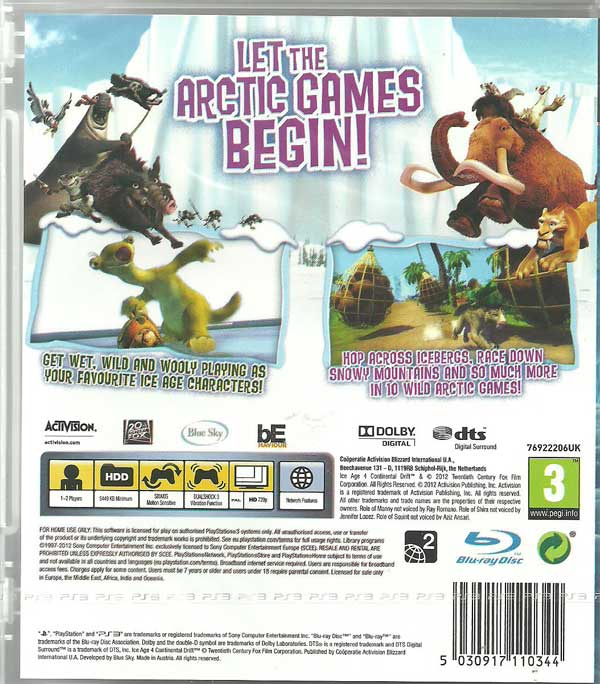 Ice Age 4 Continental Drift: Arctic Games Kinect PS3